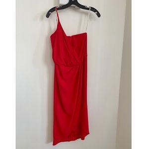 Asos asymmetrical red cocktail dress